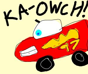 Lightning McQueen is in pain