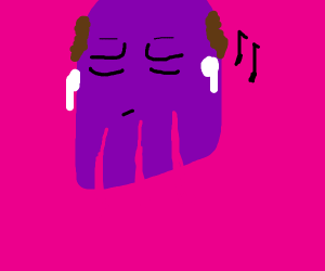 Thanos with brown hair wears AirPods straight