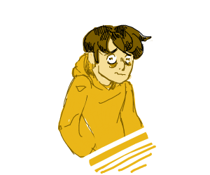 confused/scared boi in yellow hoodie