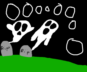 Ghosts rise out of graves