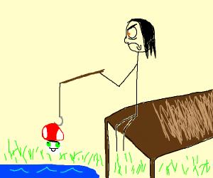 fishing with a mushroom