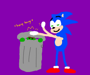 Sonic plays drums on Oscars trash can