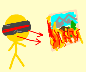 yellow guy burns art with heat vision