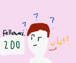 man is confused why he has 200 followers
