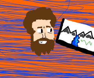 Bob Ross and his painting