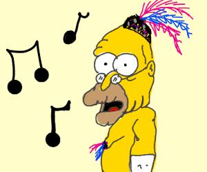 Grandpa Simpson doing burlesque