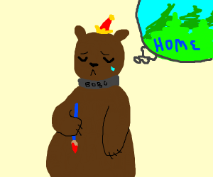 a bear painting a picture