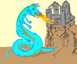 Dragon attacking a castle