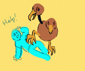 demonic doduo (pokemon) and a blue guy