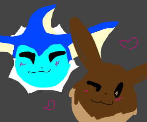 Evee and vaporeon are friends