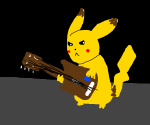 Pikachu playing bass guitar