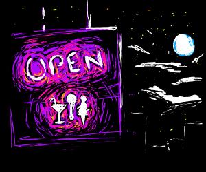 nightclub open sign at midnight