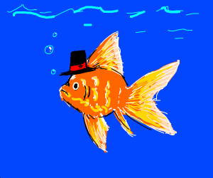 Goldfish Wearing Tophat in Lake