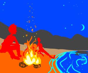 Two men at orange beach having a campfire