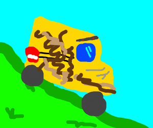 A bus painted with poop going downhill