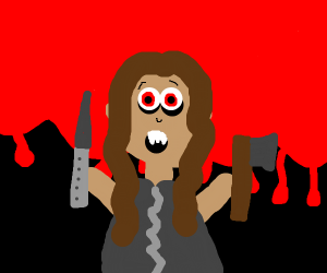 scary long haired psycho