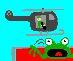 ugly frog scared of the chopper