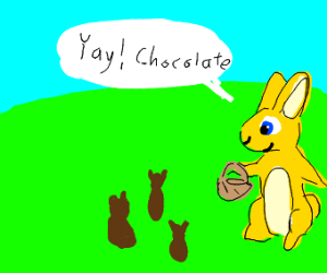 bunny finding...chocolate bears in the fields