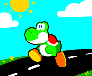 Yoshi happily walking down the street