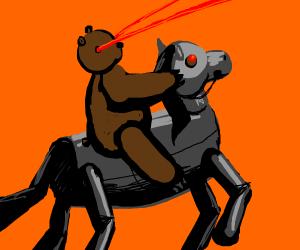 bear with laser eyes rides robot horse