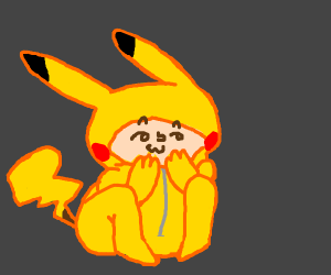 A very uwu lenny face boy in Pikachu suit