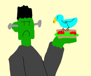 Frankenstien holding a sandwich in nature