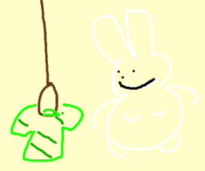 bunny hanging his clothes