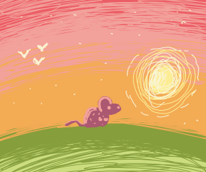 Its a cute purple mouse! In sunset on a hill
