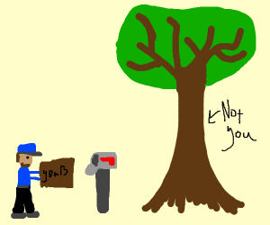 your package was delivered to a tree