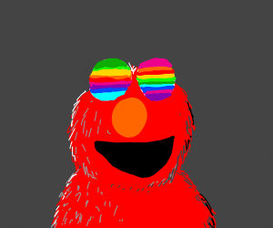 Elmo with rainbow eyes