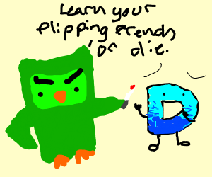 duolingo owl threatening drawception logo