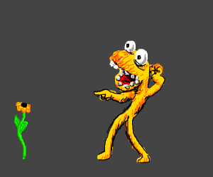 Yellow Animal (muppets) scared of plant