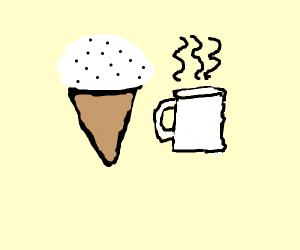 Cookies and cream ice cream drinking coffee