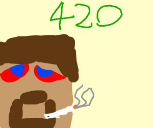 Guy with minecraft head has a 420 moment