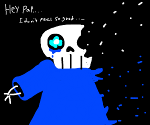 Sans tearing up as he turns to dust