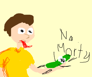Morty eating pickle rick