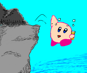 Drunk Kirby jumps off cliff