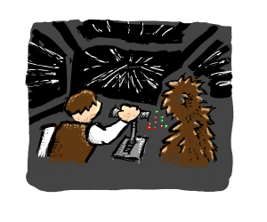 Han and Chewbacca in hyperspace