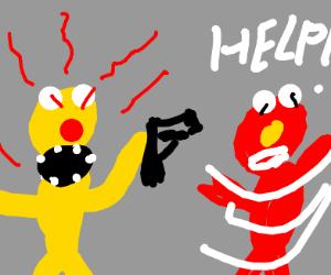 Yellmo pointing a gun at Elmo