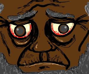 Old man with bloodshot eyes