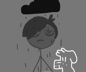 emo with a dog and raincloud over his head