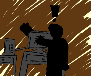 A man that's frustrated with his computer