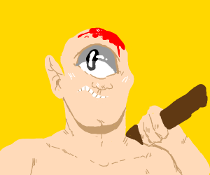 Cyclops with blood on its head