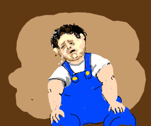 Fat guy is sad