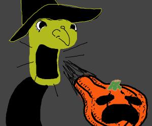 Witch Inhaling a Pumpkin