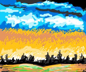 Sunrise near a Field