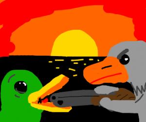Goose shoots duck