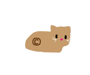 cat with copyright symbol on its body