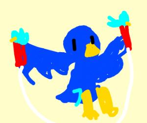 Bird skipping rope