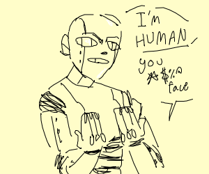 Robot(?) swears to be a human